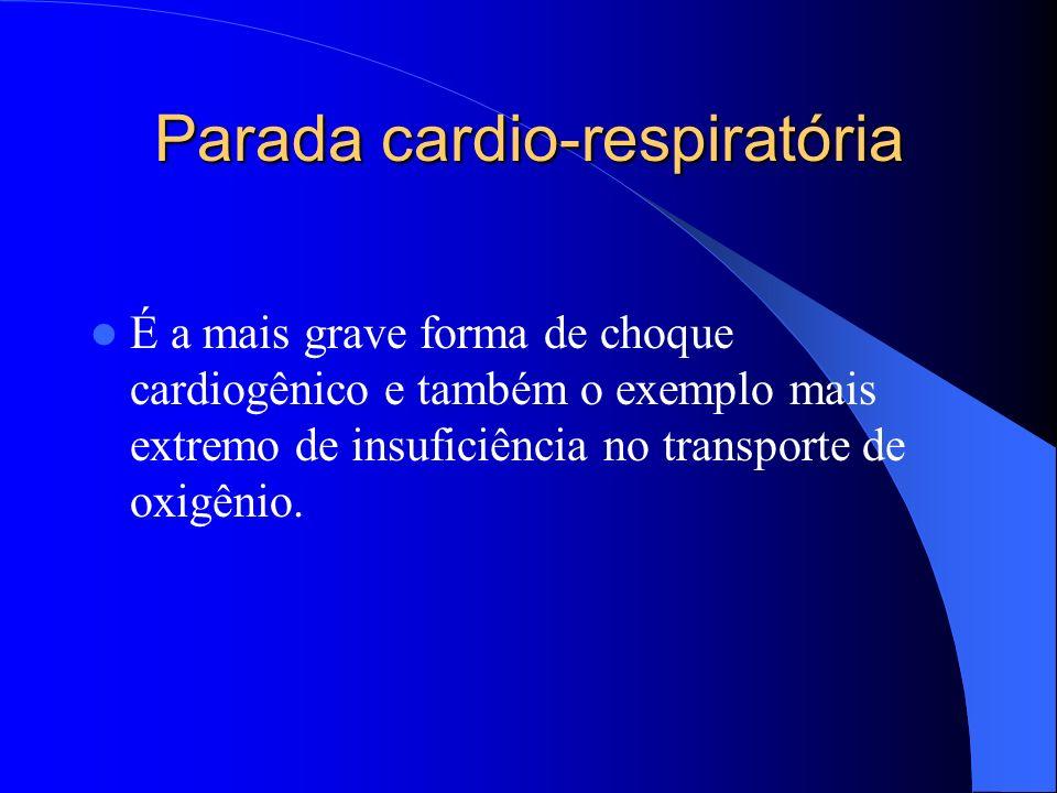 Parada cardio-respiratória A parada cardio-pulmonar é a cessação da circulação e da respiração; é reconhecida pela ausência de batimentos cardíacos e