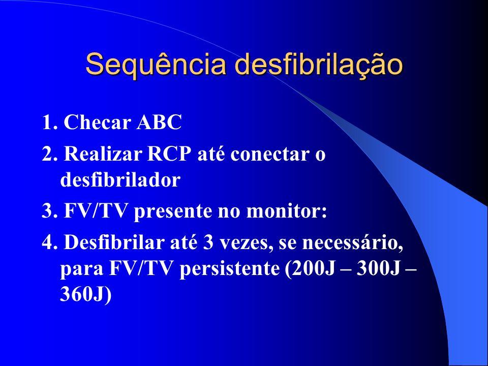 FV/TV PRESENTE NO MONITOR FIBRILAÇÃO VENTRICULAR / TAQUICARDIA VENTRICULAR SEM PULSO (FV/TV) Prioridade do atendimento: DESFIBRILAÇÃO PRECOCE. (Antes