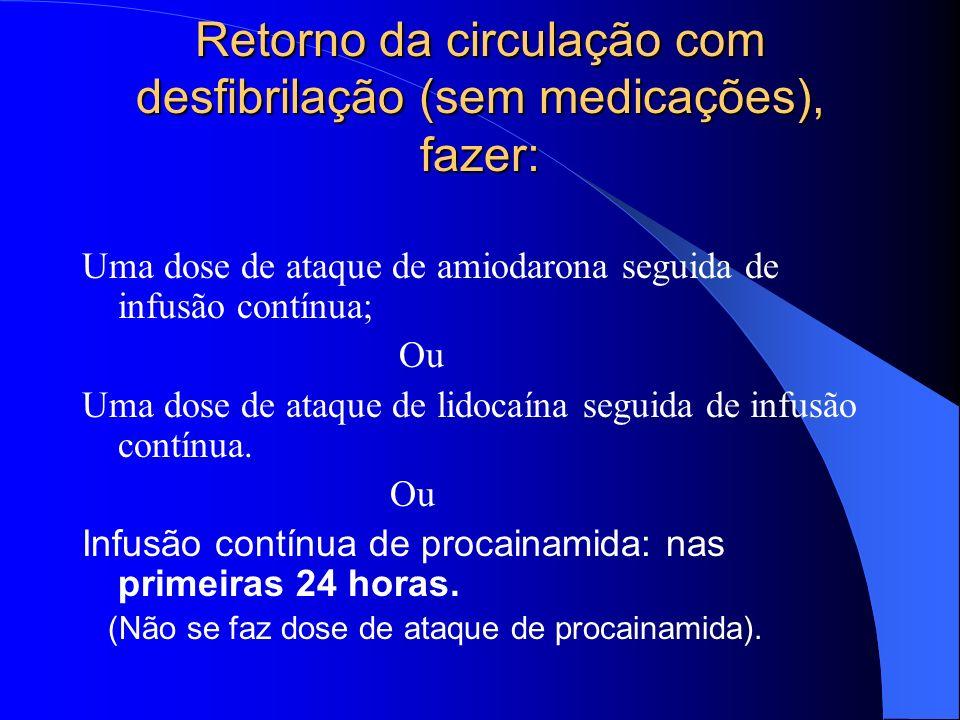 Drogas PROCAINAMIDA - 30 mg/minuto na FV refratária BICARBONATO DE SÓDIO - 1 mEq/Kg IV. Classe I (definitivamente útil): se houver hiperpotassemia con