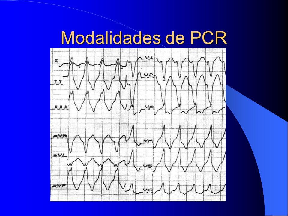Modalidades de PCR Fibrilação ventricular Taquicardia ventricular Atividade elétrica sem pulso Assistolia