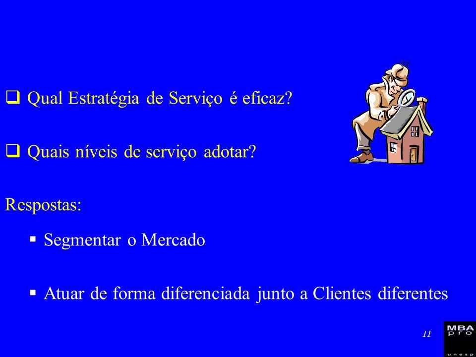11 Qual Estratégia de Serviço é eficaz? Quais níveis de serviço adotar? Respostas: Segmentar o Mercado Atuar de forma diferenciada junto a Clientes di