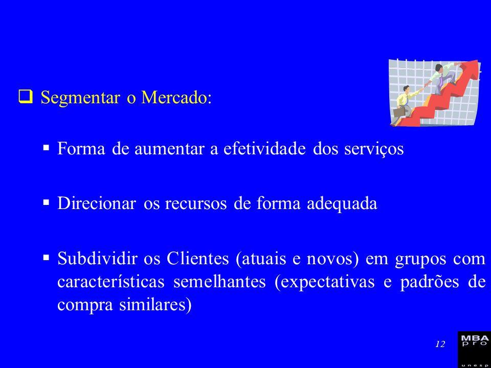 12 Segmentar o Mercado: Forma de aumentar a efetividade dos serviços Direcionar os recursos de forma adequada Subdividir os Clientes (atuais e novos)