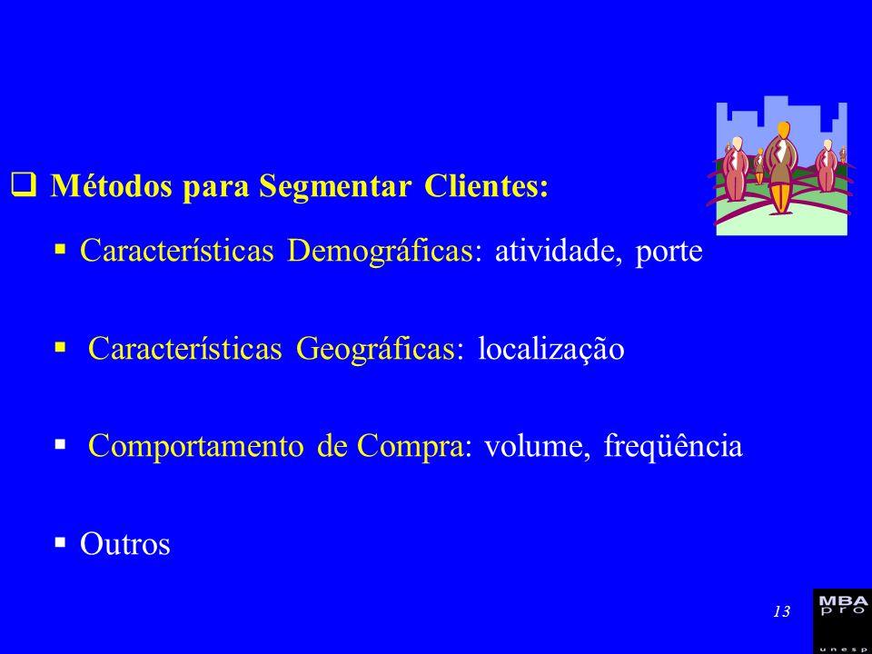 13 Métodos para Segmentar Clientes: Características Demográficas: atividade, porte Características Geográficas: localização Comportamento de Compra: v