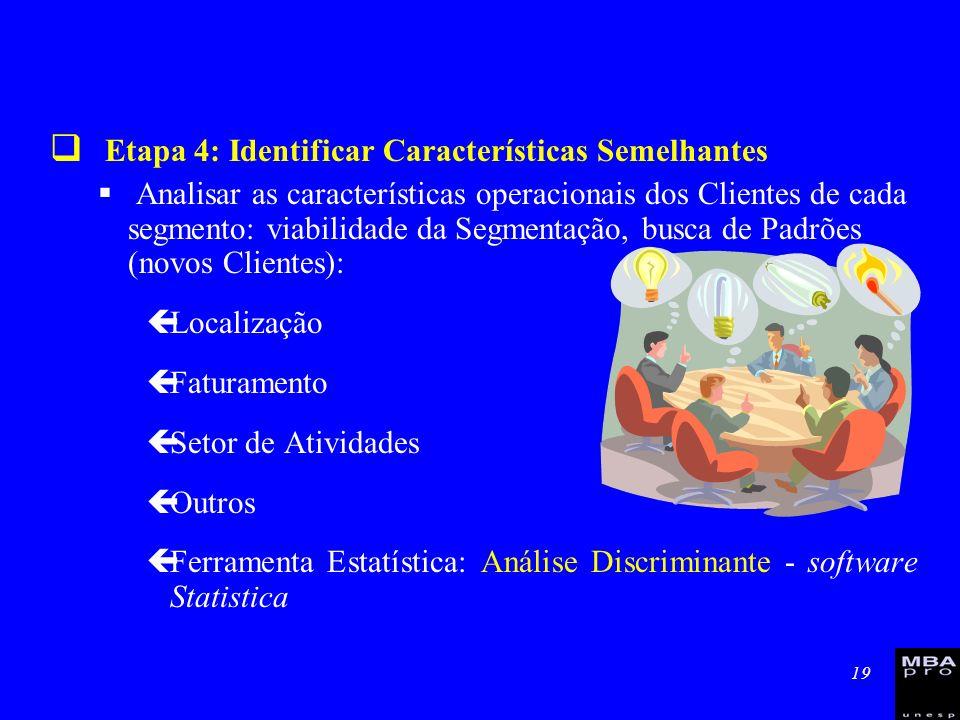 19 Etapa 4: Identificar Características Semelhantes Analisar as características operacionais dos Clientes de cada segmento: viabilidade da Segmentação