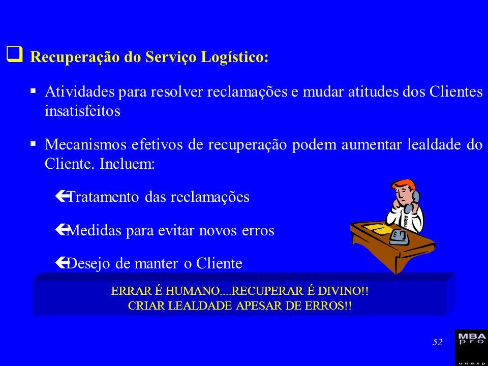 52 Recuperação do Serviço Logístico: Atividades para resolver reclamações e mudar atitudes dos Clientes insatisfeitos Mecanismos efetivos de recuperaç
