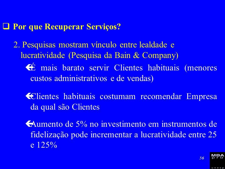 56 Por que Recuperar Serviços? 2. Pesquisas mostram vínculo entre lealdade e lucratividade (Pesquisa da Bain & Company) çÉ mais barato servir Clientes
