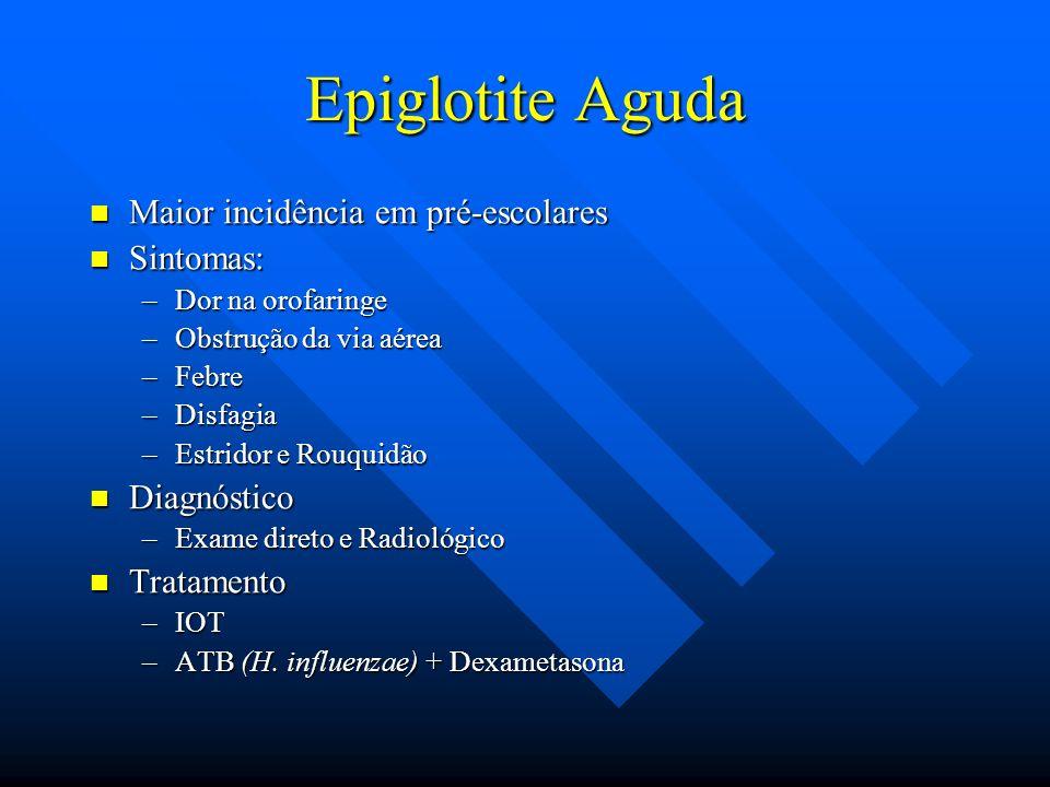Epiglotite Aguda Maior incidência em pré-escolares Maior incidência em pré-escolares Sintomas: Sintomas: –Dor na orofaringe –Obstrução da via aérea –F