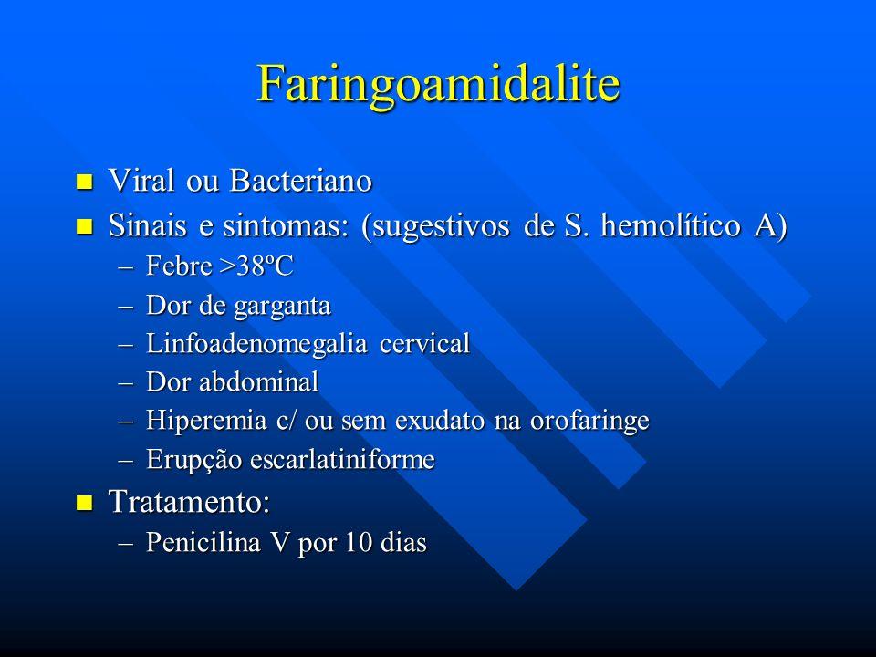 Faringoamidalite Viral ou Bacteriano Viral ou Bacteriano Sinais e sintomas: (sugestivos de S. hemolítico A) Sinais e sintomas: (sugestivos de S. hemol