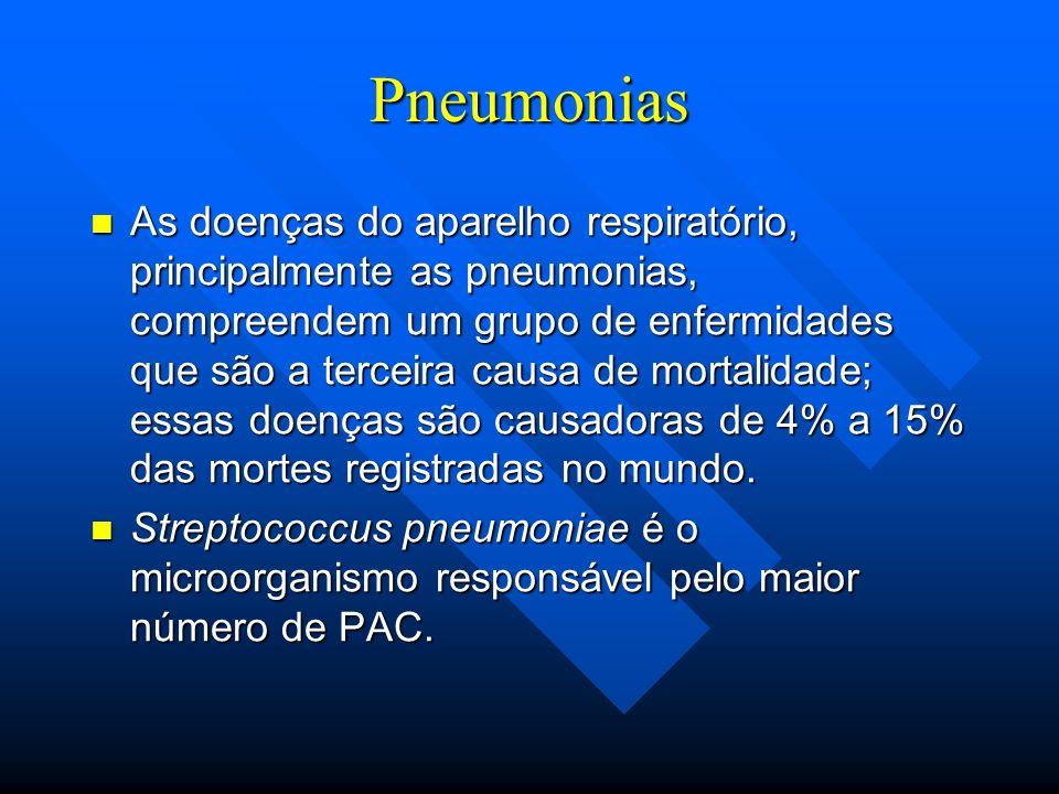 Pneumonias As doenças do aparelho respiratório, principalmente as pneumonias, compreendem um grupo de enfermidades que são a terceira causa de mortali