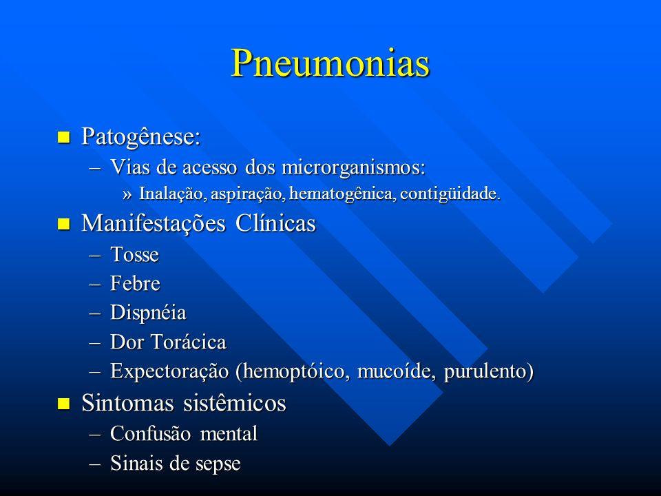 Pneumonias Patogênese: Patogênese: –Vias de acesso dos microrganismos: »Inalação, aspiração, hematogênica, contigüidade. Manifestações Clínicas Manife