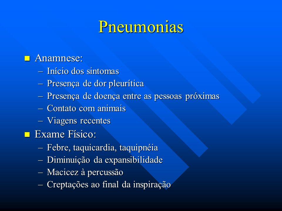 Pneumonias Anamnese: Anamnese: –Início dos sintomas –Presença de dor pleurítica –Presença de doença entre as pessoas próximas –Contato com animais –Vi