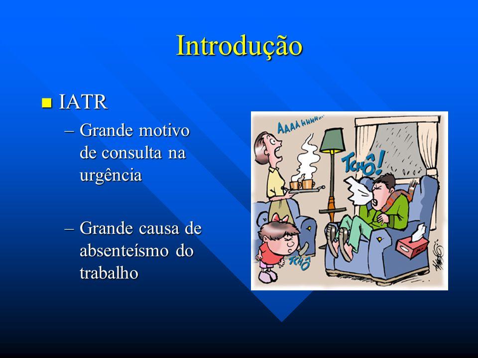Tipos de IATR Trato Respiratório Superior Trato Respiratório Superior Trato Respiratório Inferior Trato Respiratório Inferior Infecções Agudas Pleurais Infecções Agudas Pleurais