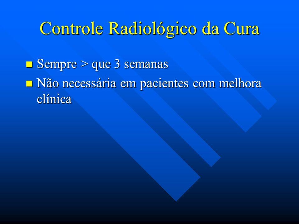 Controle Radiológico da Cura Sempre > que 3 semanas Sempre > que 3 semanas Não necessária em pacientes com melhora clínica Não necessária em pacientes
