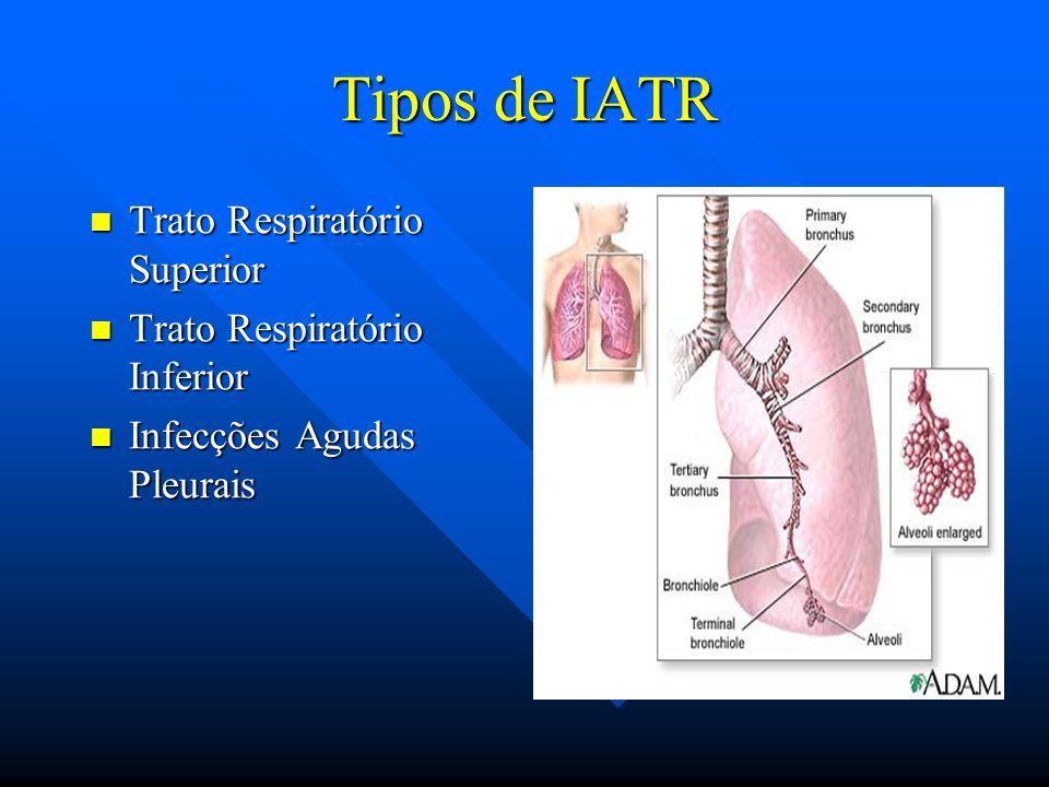 Tipos de IATR Trato Respiratório Superior Trato Respiratório Superior Trato Respiratório Inferior Trato Respiratório Inferior Infecções Agudas Pleurai