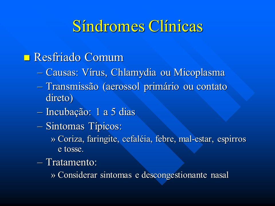 Síndromes Clínicas Resfriado Comum Resfriado Comum –Causas: Vírus, Chlamydia ou Micoplasma –Transmissão (aerossol primário ou contato direto) –Incubaç