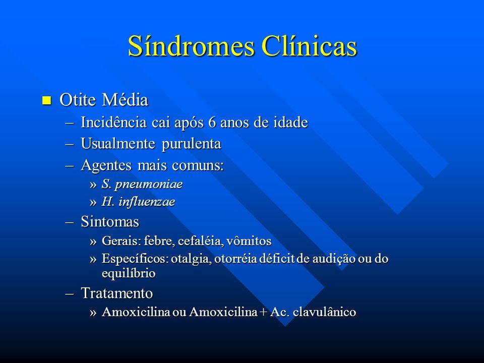 Síndromes Clínicas Otite Média Otite Média –Incidência cai após 6 anos de idade –Usualmente purulenta –Agentes mais comuns: »S. pneumoniae »H. influen