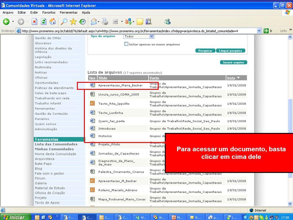 Aparecerá a informação Baixar Arquivo. Clique nele para fazer o download do documento