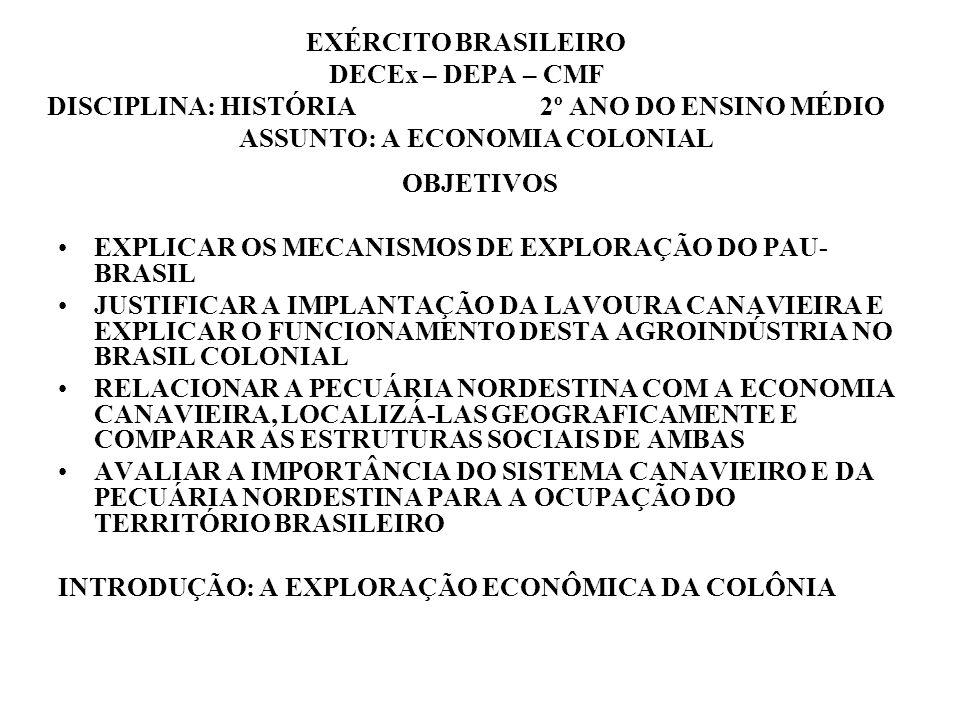 EXÉRCITO BRASILEIRO DECEx – DEPA – CMF DISCIPLINA: HISTÓRIA 2º ANO DO ENSINO MÉDIO ASSUNTO: A ECONOMIA COLONIAL OBJETIVOS EXPLICAR OS MECANISMOS DE EXPLORAÇÃO DO PAU- BRASIL JUSTIFICAR A IMPLANTAÇÃO DA LAVOURA CANAVIEIRA E EXPLICAR O FUNCIONAMENTO DESTA AGROINDÚSTRIA NO BRASIL COLONIAL RELACIONAR A PECUÁRIA NORDESTINA COM A ECONOMIA CANAVIEIRA, LOCALIZÁ-LAS GEOGRAFICAMENTE E COMPARAR AS ESTRUTURAS SOCIAIS DE AMBAS AVALIAR A IMPORTÂNCIA DO SISTEMA CANAVIEIRO E DA PECUÁRIA NORDESTINA PARA A OCUPAÇÃO DO TERRITÓRIO BRASILEIRO INTRODUÇÃO: A EXPLORAÇÃO ECONÔMICA DA COLÔNIA