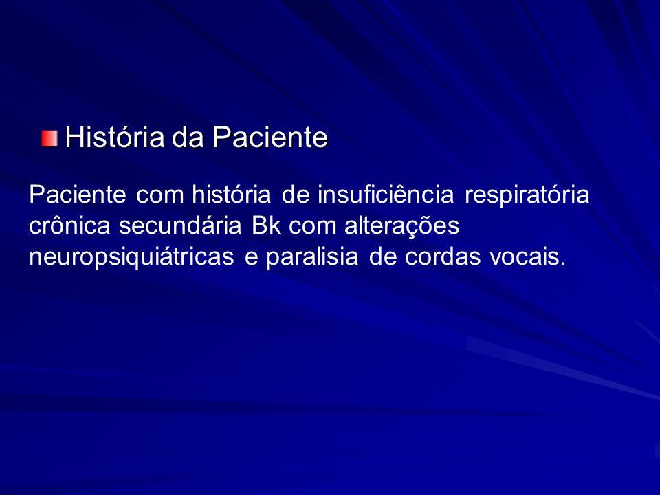 História da Paciente Paciente com história de insuficiência respiratória crônica secundária Bk com alterações neuropsiquiátricas e paralisia de cordas