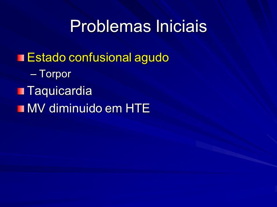 Problemas Iniciais Estado confusional agudo –Torpor Taquicardia MV diminuido em HTE