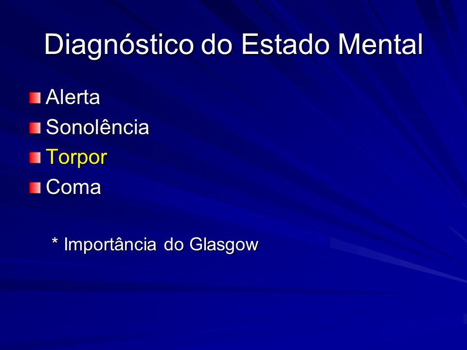 Diagnóstico do Estado Mental AlertaSonolênciaTorporComa * Importância do Glasgow