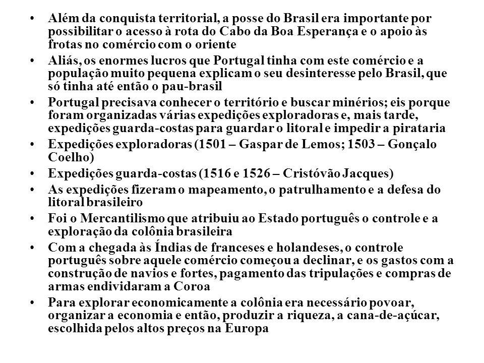 Além da conquista territorial, a posse do Brasil era importante por possibilitar o acesso à rota do Cabo da Boa Esperança e o apoio às frotas no comér