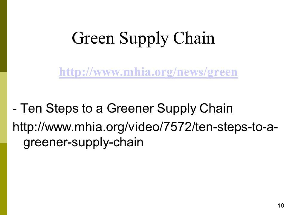 10 Green Supply Chain http://www.mhia.org/news/green - Ten Steps to a Greener Supply Chain http://www.mhia.org/video/7572/ten-steps-to-a- greener-supp