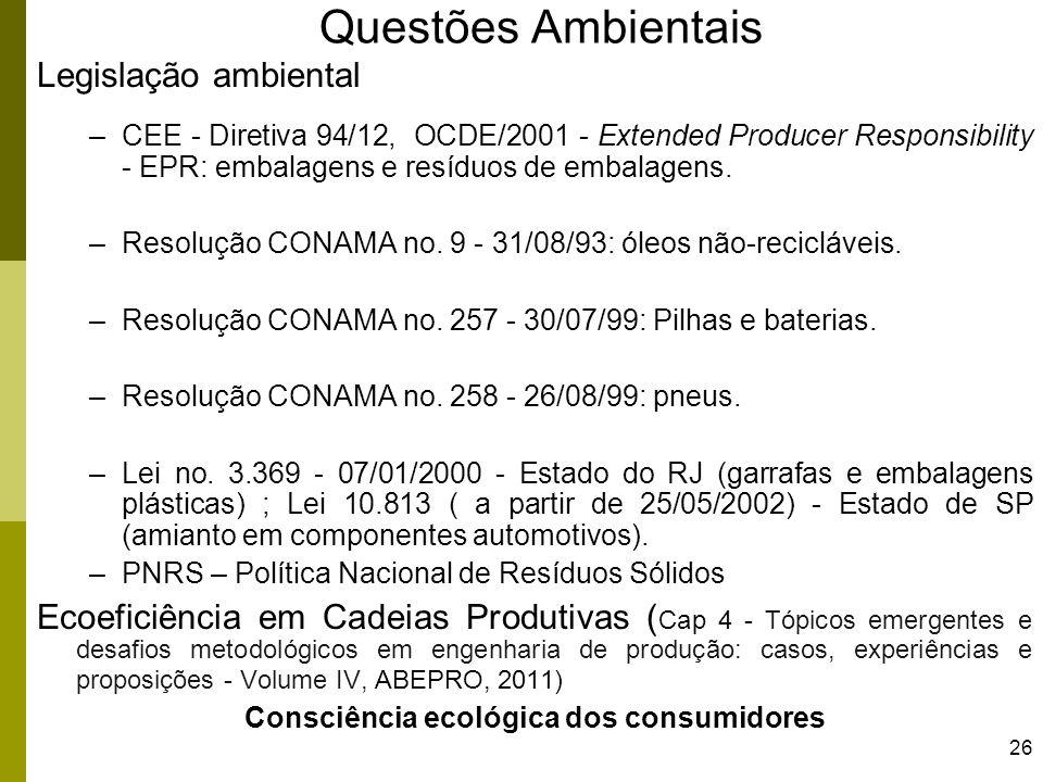 26 Questões Ambientais Legislação ambiental –CEE - Diretiva 94/12, OCDE/2001 - Extended Producer Responsibility - EPR: embalagens e resíduos de embala
