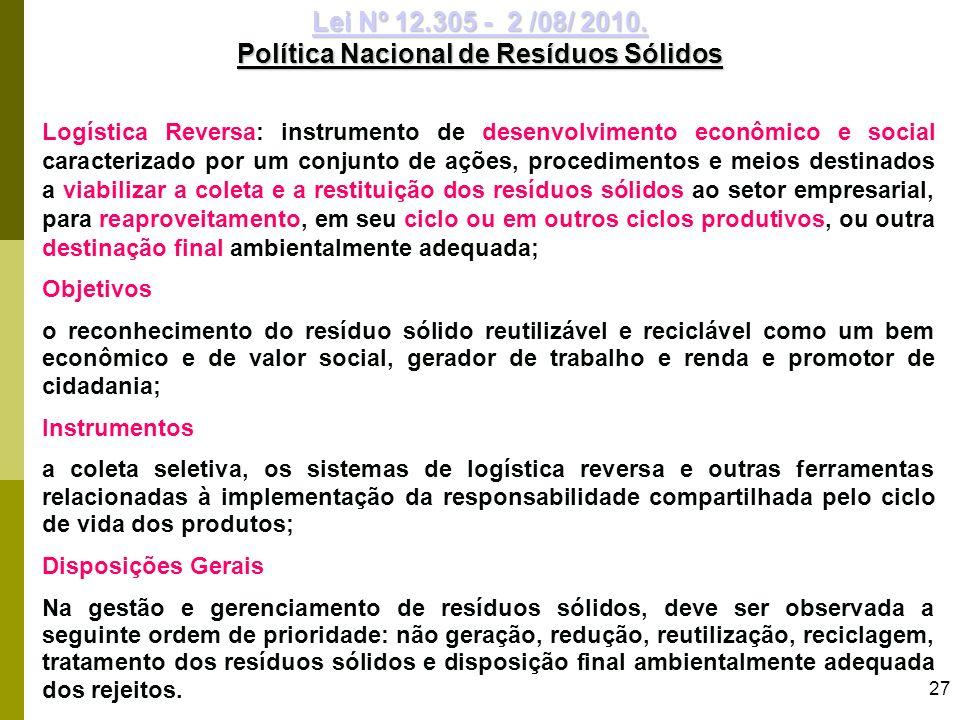 27 Logística Reversa: instrumento de desenvolvimento econômico e social caracterizado por um conjunto de ações, procedimentos e meios destinados a via