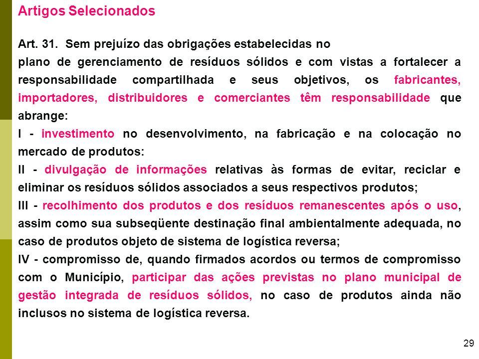 29 Artigos Selecionados Art. 31. Sem prejuízo das obrigações estabelecidas no plano de gerenciamento de resíduos sólidos e com vistas a fortalecer a r