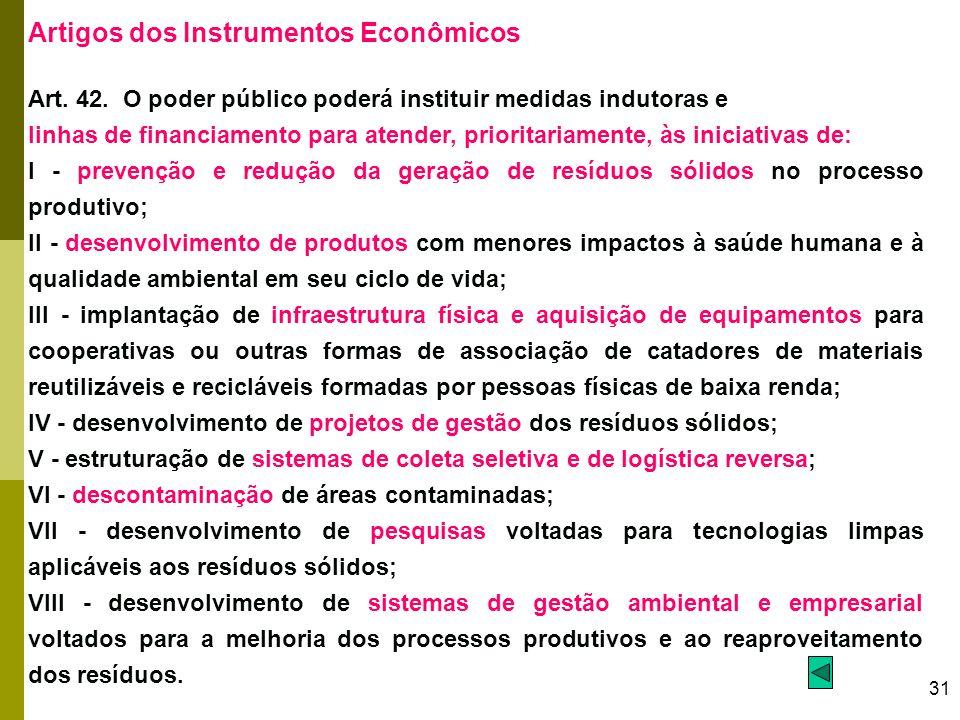 31 Artigos dos Instrumentos Econômicos Art. 42. O poder público poderá instituir medidas indutoras e linhas de financiamento para atender, prioritaria