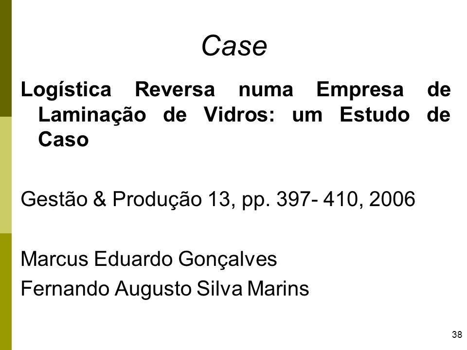 38 Case Logística Reversa numa Empresa de Laminação de Vidros: um Estudo de Caso Gestão & Produção 13, pp. 397- 410, 2006 Marcus Eduardo Gonçalves Fer