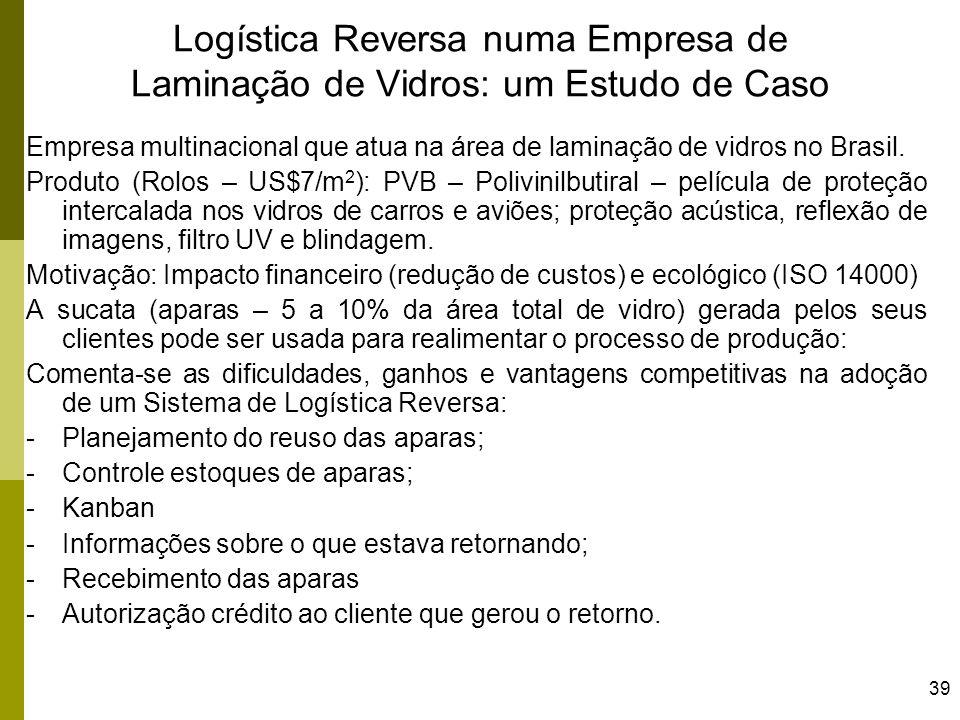 39 Logística Reversa numa Empresa de Laminação de Vidros: um Estudo de Caso Empresa multinacional que atua na área de laminação de vidros no Brasil. P