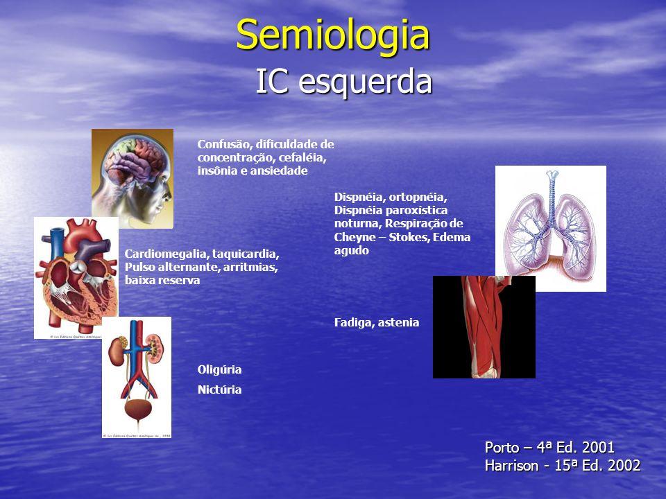 Semiologia IC esquerda Confusão, dificuldade de concentração, cefaléia, insônia e ansiedade Cardiomegalia, taquicardia, Pulso alternante, arritmias, b