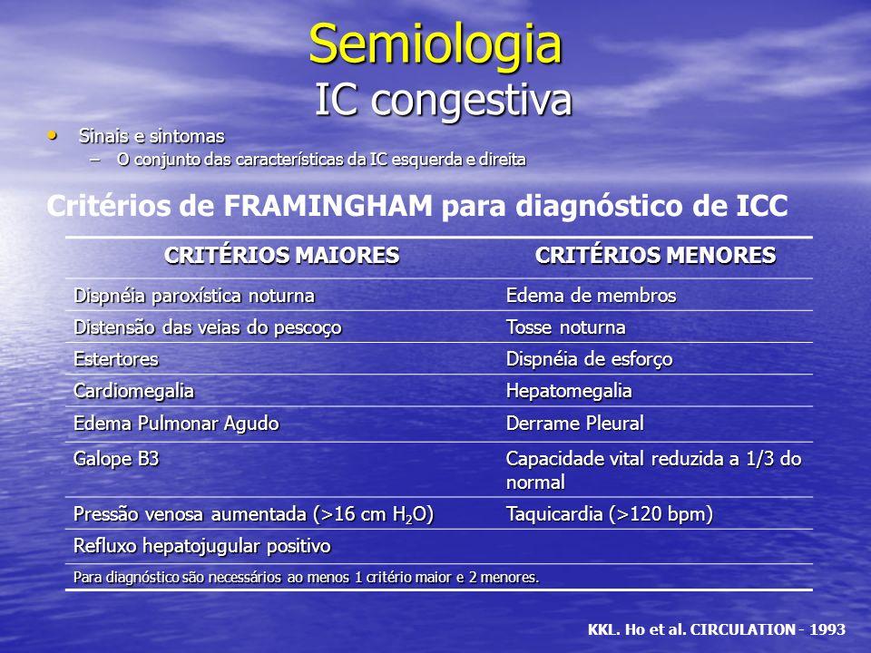 Semiologia IC congestiva Sinais e sintomas Sinais e sintomas –O conjunto das características da IC esquerda e direita CRITÉRIOS MAIORES CRITÉRIOS MENO