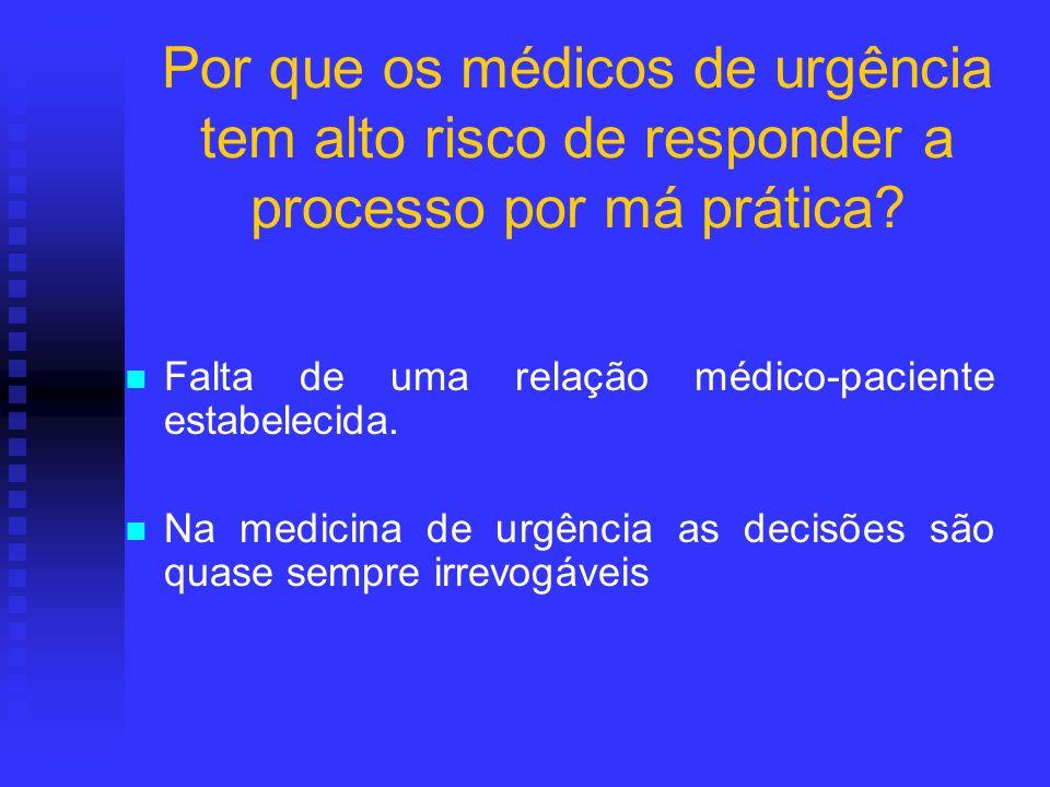 Por que os médicos de urgência tem alto risco de responder a processo por má prática? Falta de uma relação médico-paciente estabelecida. Na medicina d