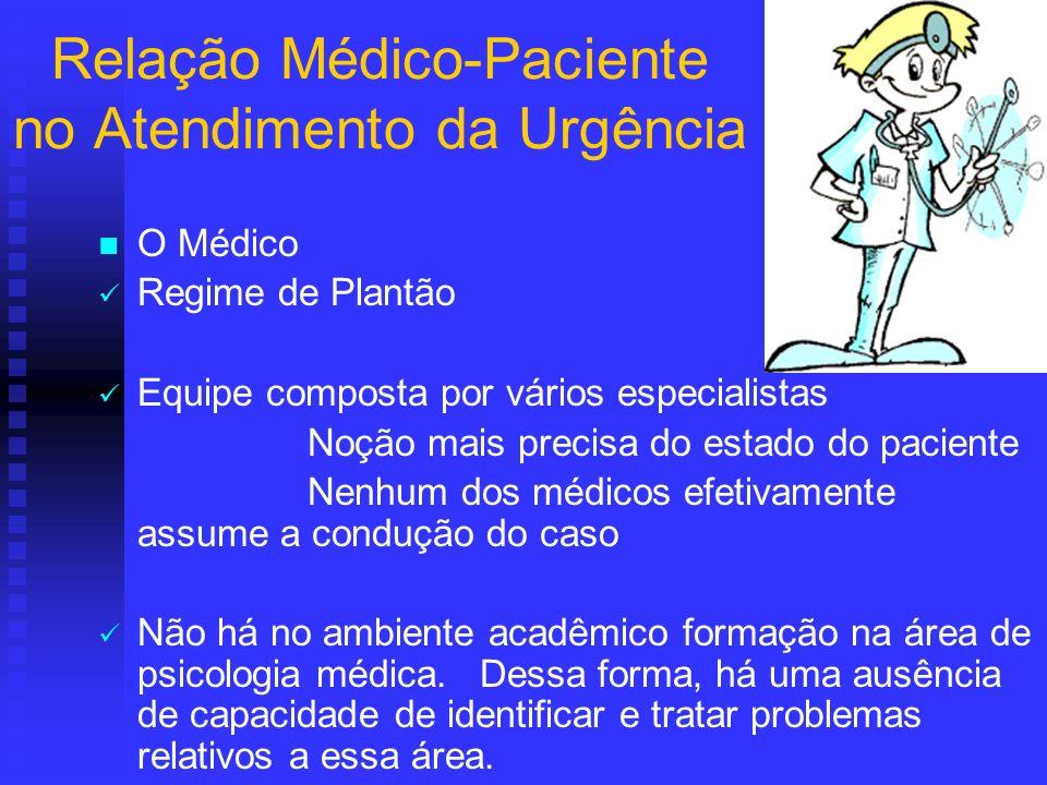 Relação Médico-Paciente no Atendimento da Urgência O Médico Regime de Plantão Equipe composta por vários especialistas Noção mais precisa do estado do