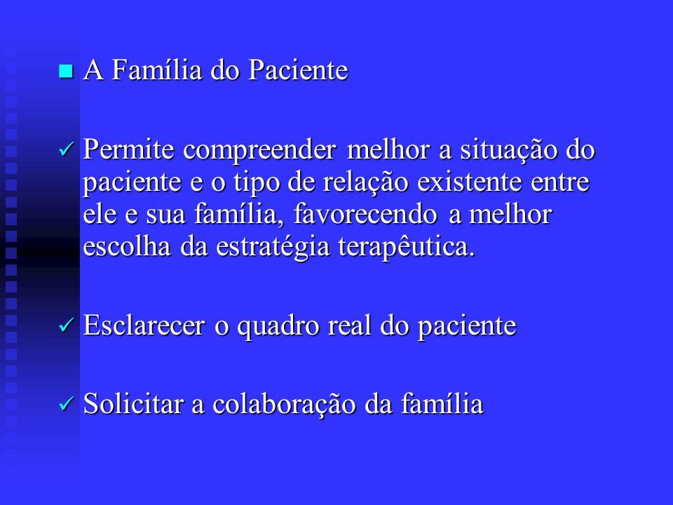 A Família do Paciente A Família do Paciente Permite compreender melhor a situação do paciente e o tipo de relação existente entre ele e sua família, f