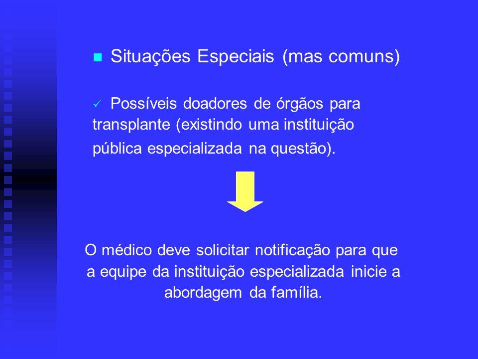 Situações Especiais (mas comuns) Possíveis doadores de órgãos para transplante (existindo uma instituição pública especializada na questão). O médico