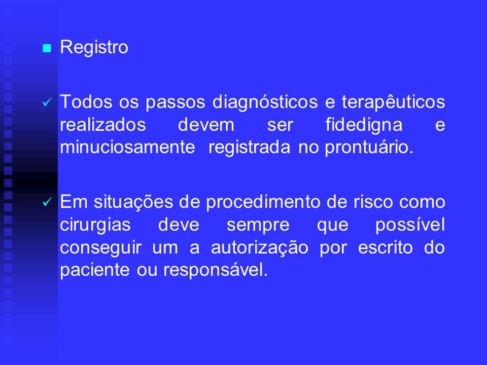 Registro Todos os passos diagnósticos e terapêuticos realizados devem ser fidedigna e minuciosamente registrada no prontuário. Em situações de procedi