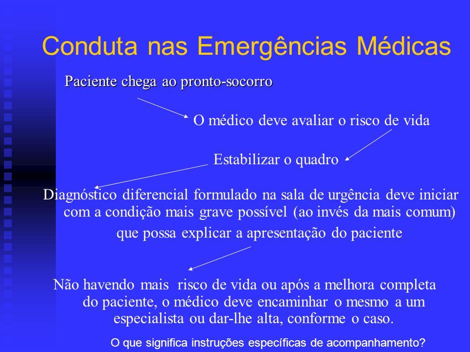 Conduta nas Emergências Médicas Paciente chega ao pronto-socorro O médico deve avaliar o risco de vida Estabilizar o quadro Diagnóstico diferencial fo