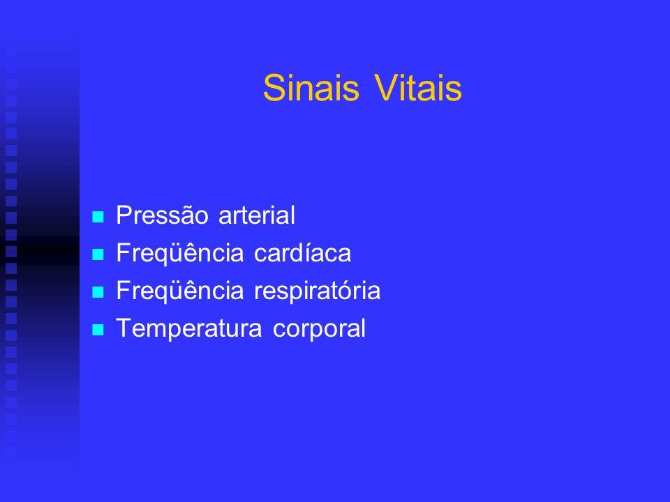 Sinais Vitais Pressão arterial Freqüência cardíaca Freqüência respiratória Temperatura corporal