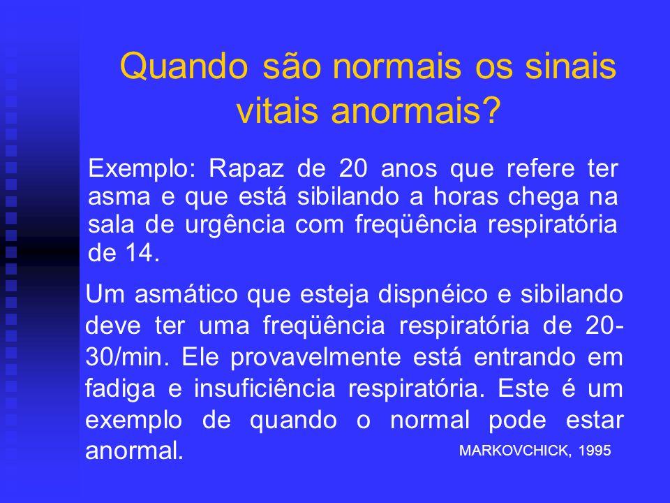 Quando são normais os sinais vitais anormais? Exemplo: Rapaz de 20 anos que refere ter asma e que está sibilando a horas chega na sala de urgência com