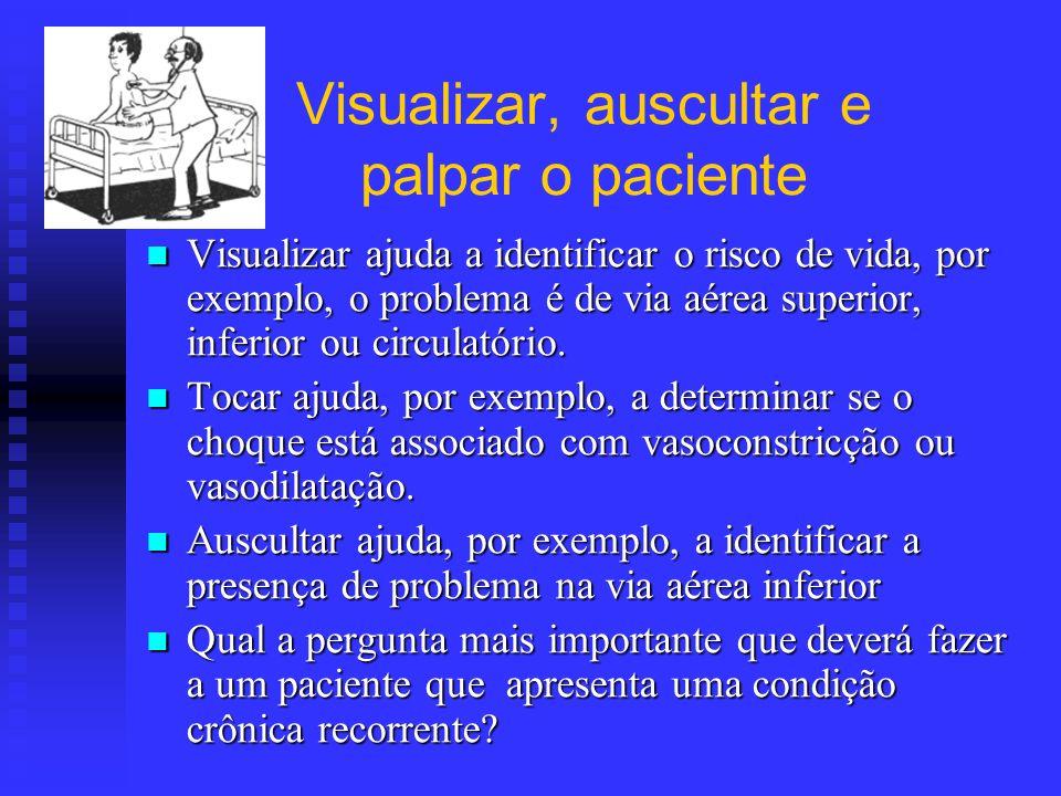 Visualizar, auscultar e palpar o paciente Visualizar ajuda a identificar o risco de vida, por exemplo, o problema é de via aérea superior, inferior ou