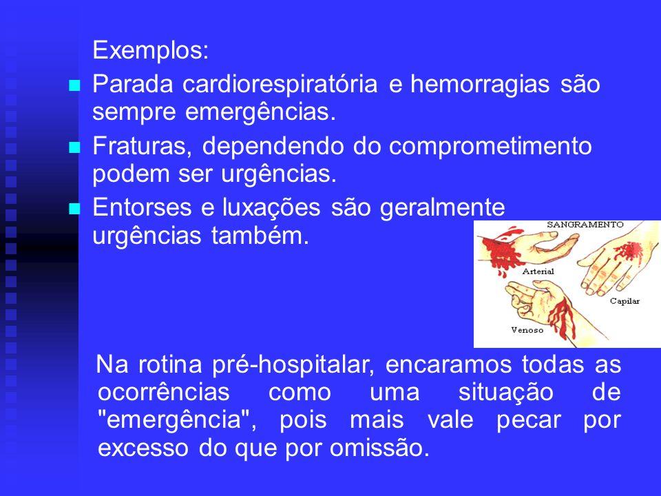 Exemplos: Parada cardiorespiratória e hemorragias são sempre emergências. Fraturas, dependendo do comprometimento podem ser urgências. Entorses e luxa