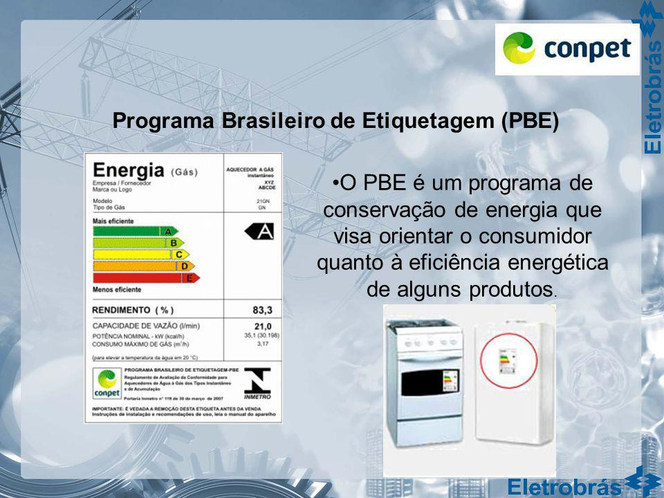 Programa Brasileiro de Etiquetagem (PBE) O PBE é um programa de conservação de energia que visa orientar o consumidor quanto à eficiência energética d