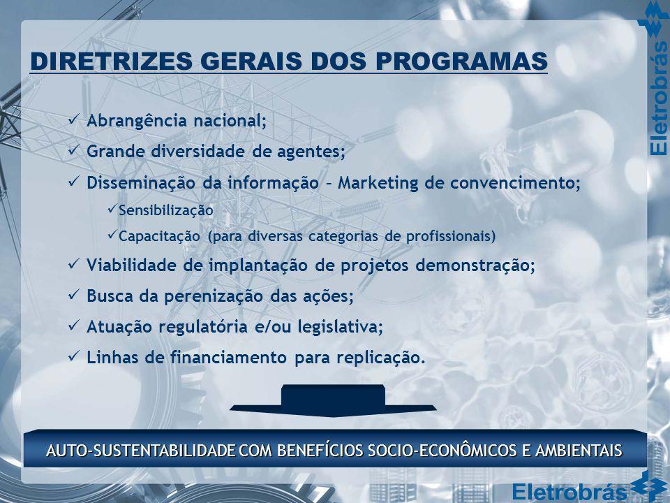 Abrangência nacional; Grande diversidade de agentes; Disseminação da informação – Marketing de convencimento; Sensibilização Capacitação (para diversa