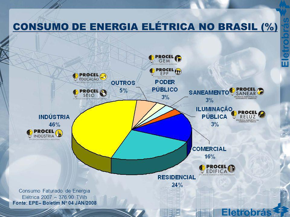 Consumo Faturado de Energia Elétrica 2007 – 376,90 TWh Fonte: EPE– Boletim Nº 04 JAN/2008 CONSUMO DE ENERGIA ELÉTRICA NO BRASIL (%)