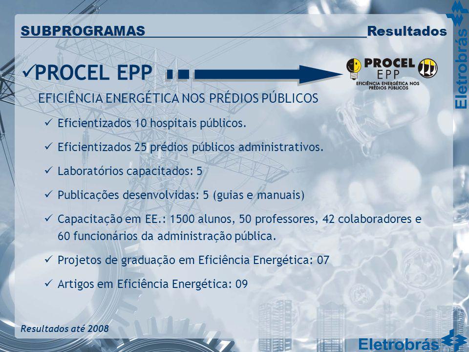 PROCEL EPP EFICIÊNCIA ENERGÉTICA NOS PRÉDIOS PÚBLICOS Eficientizados 10 hospitais públicos. Eficientizados 25 prédios públicos administrativos. Labora