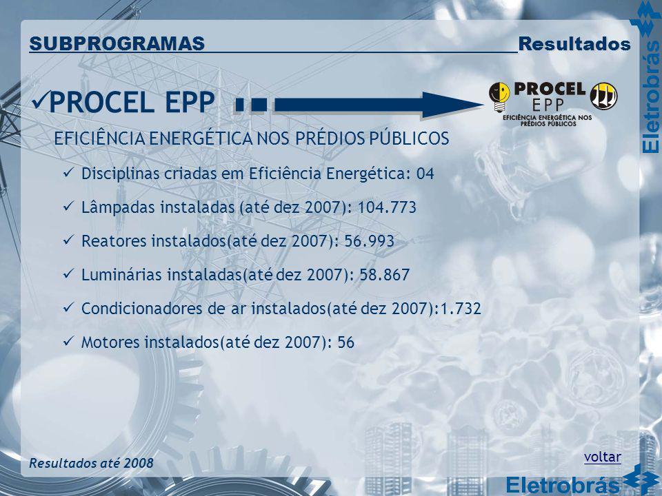 PROCEL EPP EFICIÊNCIA ENERGÉTICA NOS PRÉDIOS PÚBLICOS Disciplinas criadas em Eficiência Energética: 04 Lâmpadas instaladas (até dez 2007): 104.773 Rea